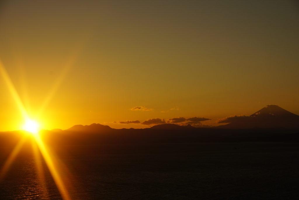 シーキャンドル屋上 富士山と夕日